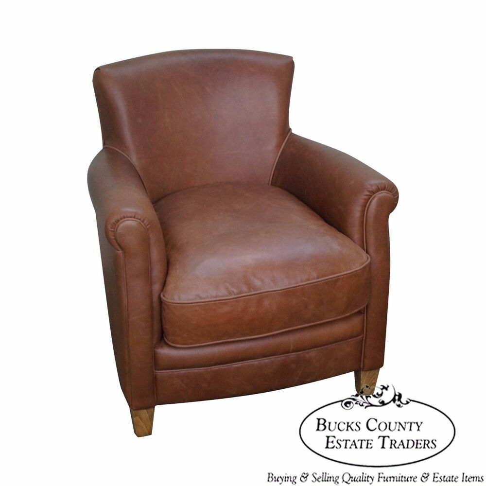 Pottery Barn Brown Leather Club Chair Ebay