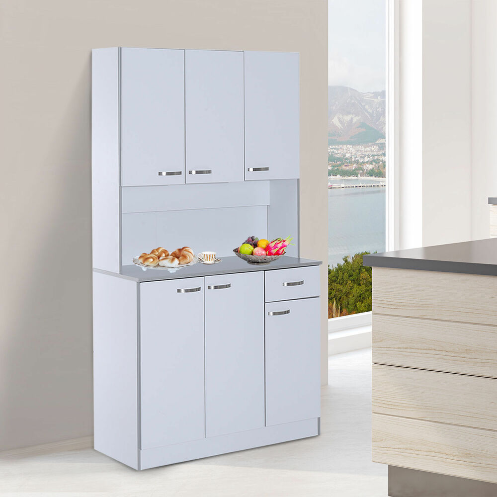 Free standing kitchen cupboard large tall cart modern storage cabinet pantry new ebay - Kitchen storage cabinets free standing ...