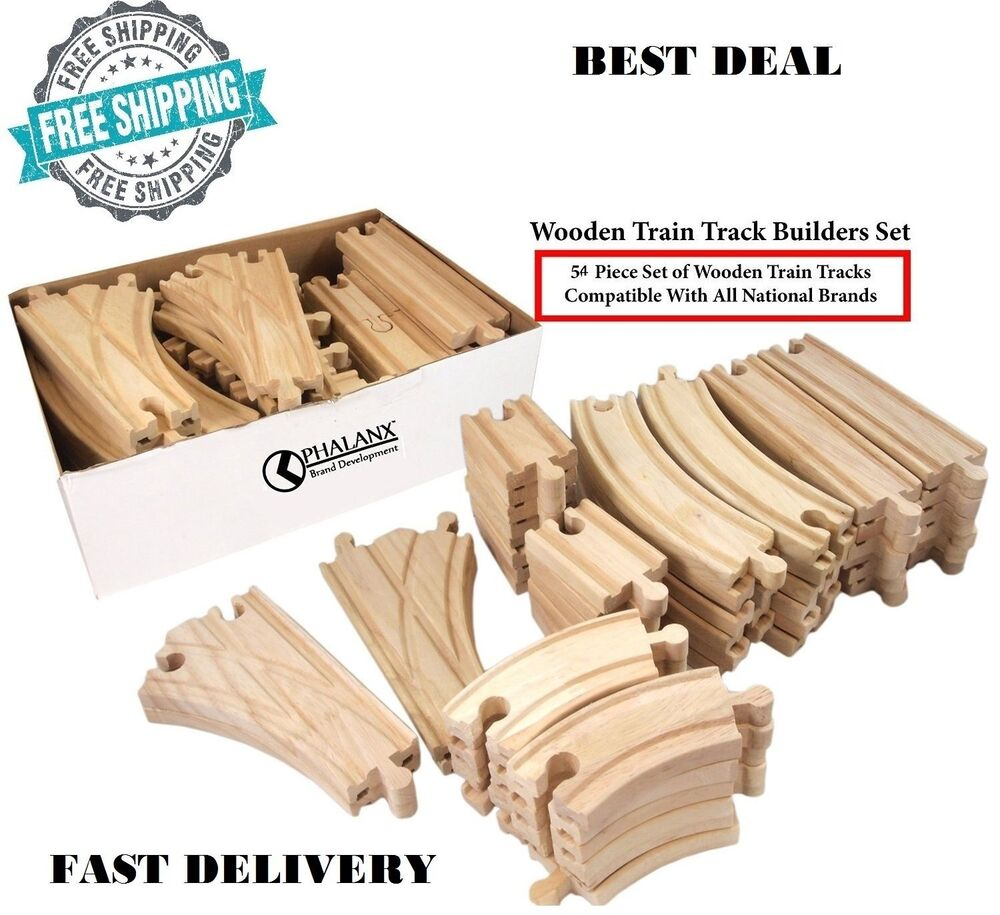 56 piece wooden train track builders set of wooden tracks compatible thomas brio ebay. Black Bedroom Furniture Sets. Home Design Ideas