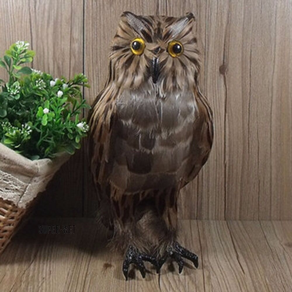 Fake artificial owl bird feather realistic taxidermy home for Artificial birds for decoration
