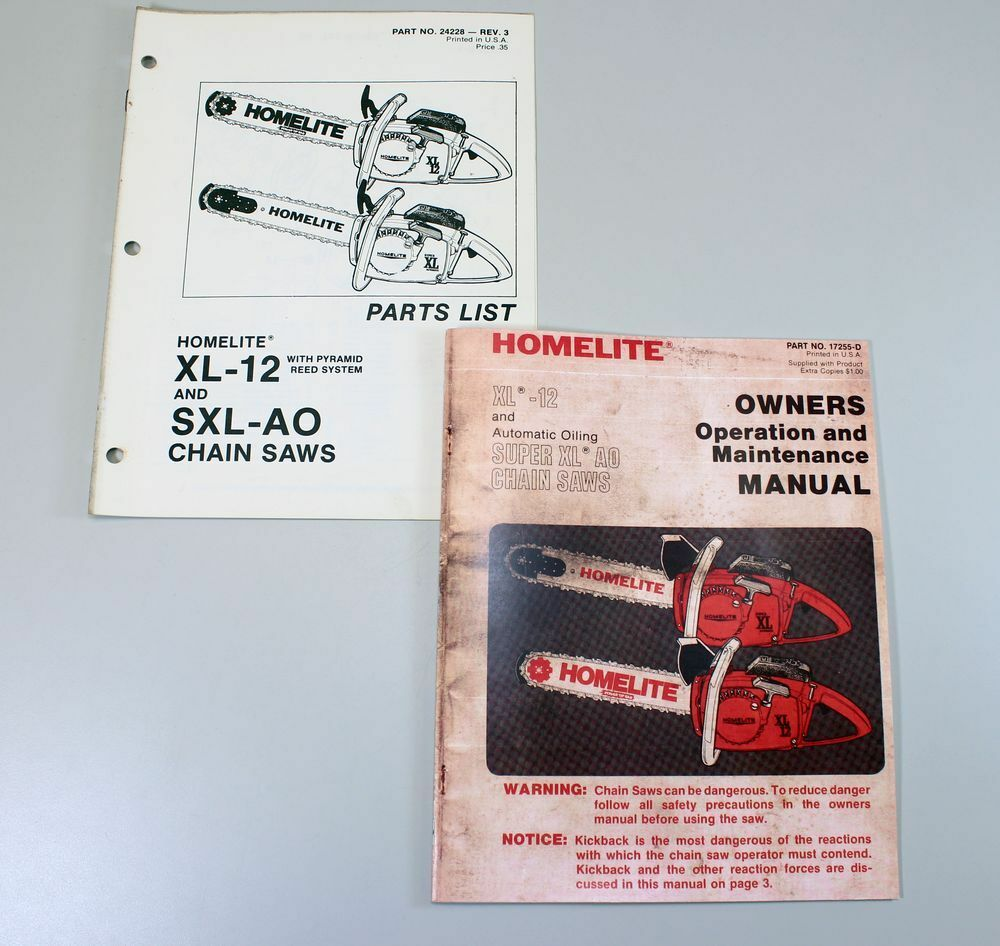 SET HOMELITE XL12 CHAINSAW OWNERS OPERATOR PARTS MANUAL MAINTENANCE CATALOG  LIST | eBay