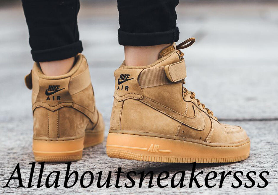 sale retailer 71ddc 93f92 Details about Nike Air Force 1 High LV8 GS Flax Brown Outdoor Green Womens  Trainers 654440 200