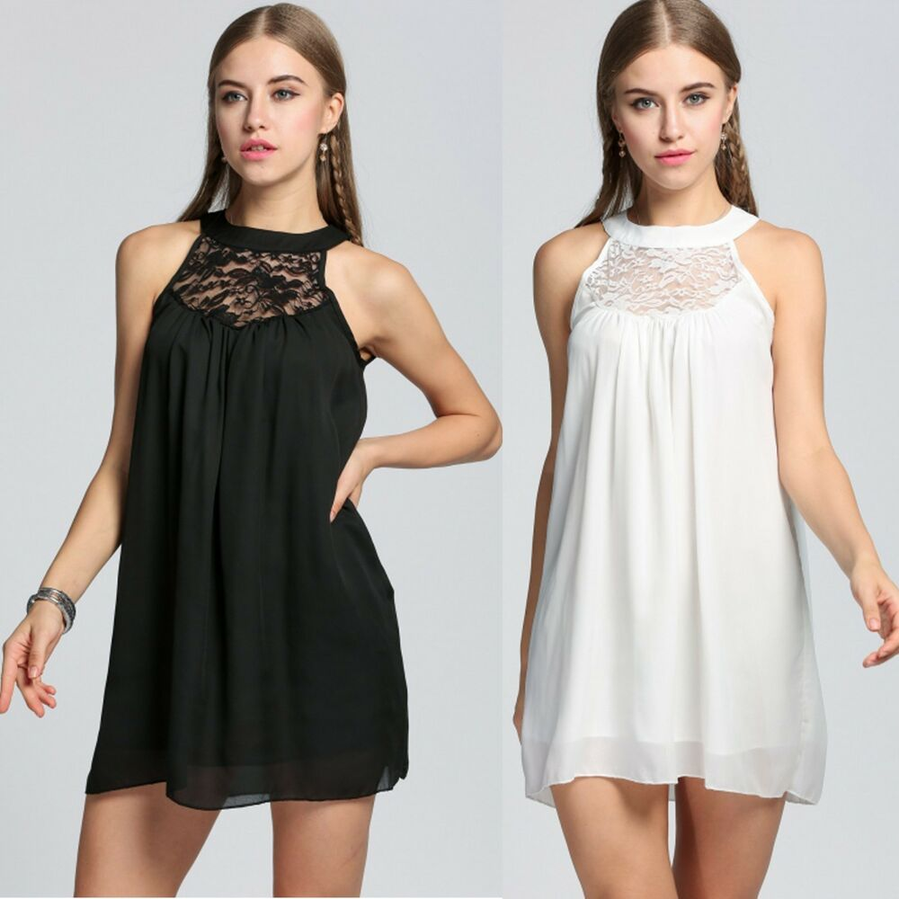 4d7ab56a09a Details about Womens Sleeveless Lace Chiffon Sexy Loose Mini Shift Dress  Party Casual Clubwear