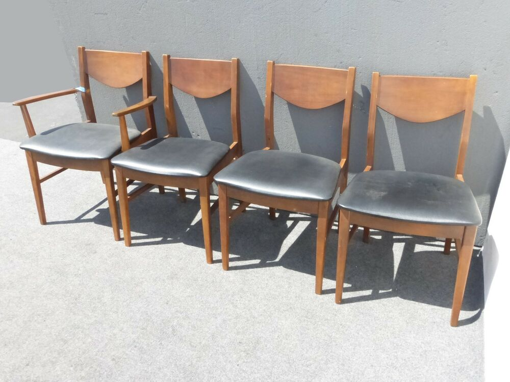 Vintage mid century modern black vinyl dining room chairs for Stanley furniture dining room sets