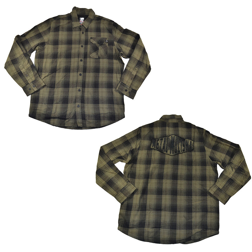 metal mulisha duty black dark army green plaid button