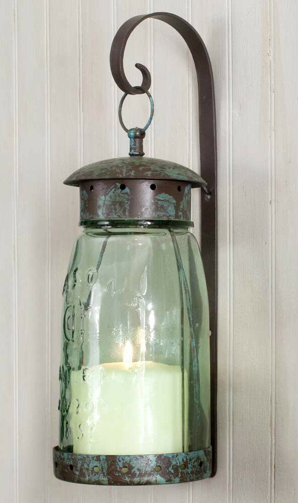 Mason Jar Quart sz.Hanging Wall Sconce Lantern Hurricane Lamp screw on top eBay