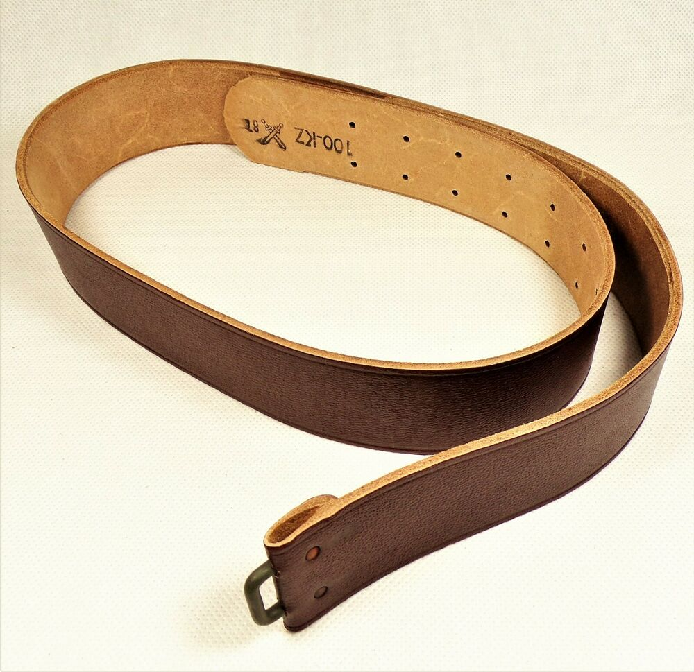 genuine vintage army leather belt from 80 s nos