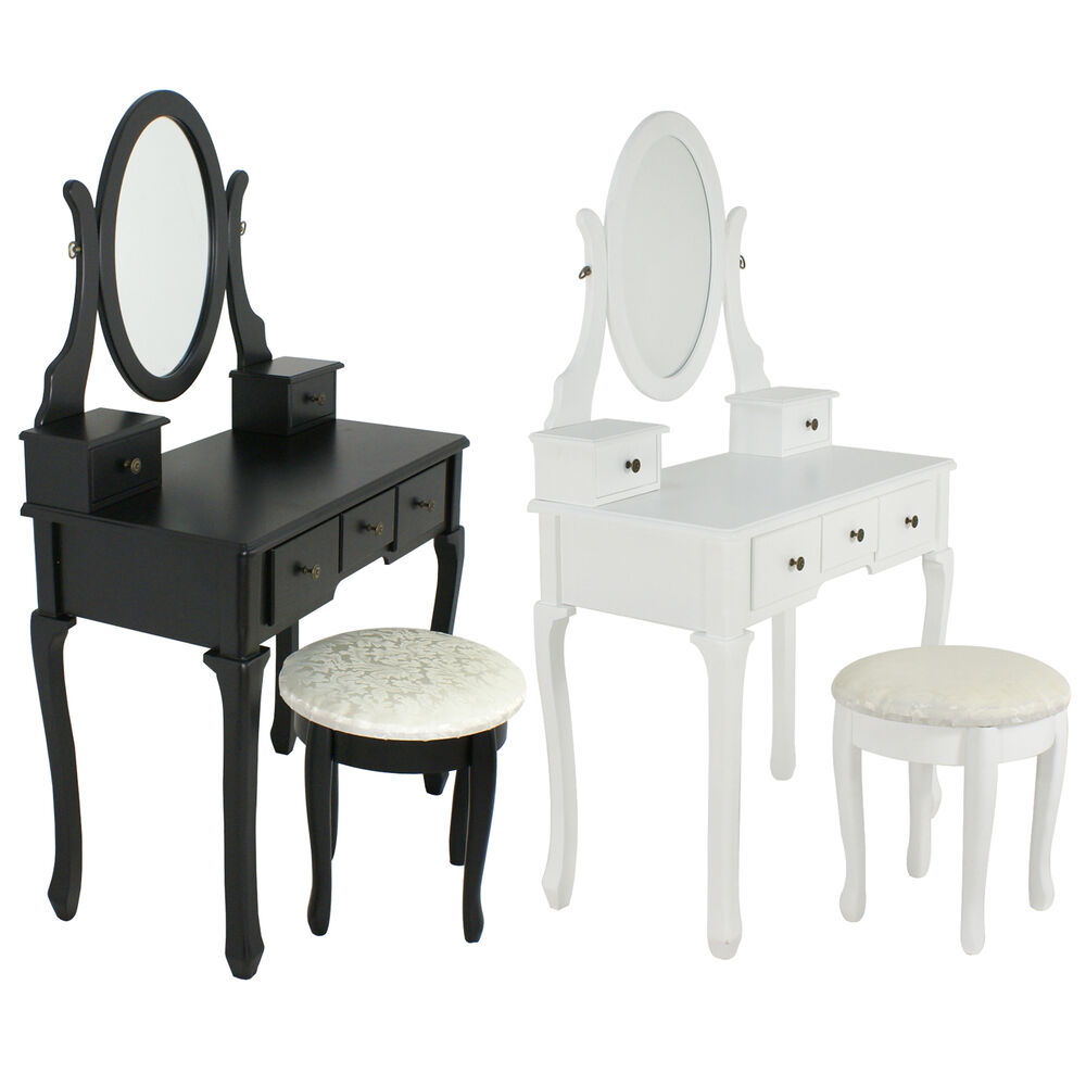 White black vanity makeup dressing table set wood desk w for Black makeup table with mirror