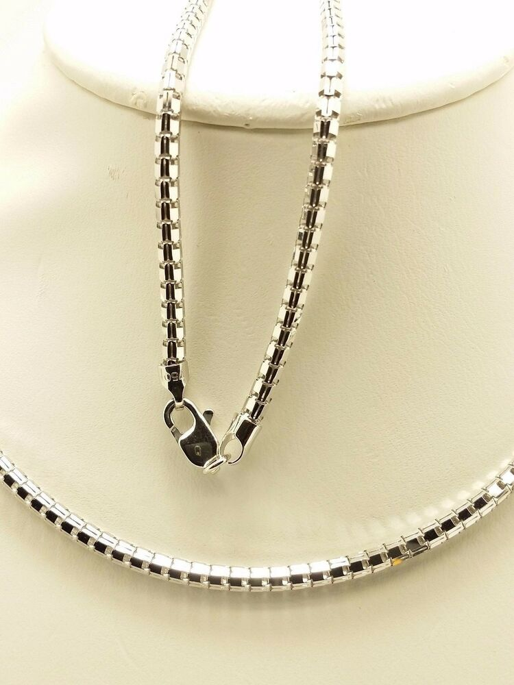 18k Solid White Gold Polished Snake Necklace/ Chain 8.28 ...