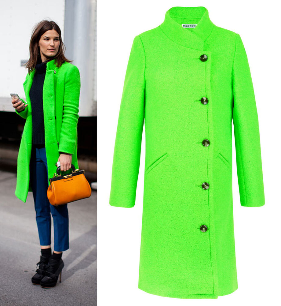 Bright Acid Neon Green Wool Double-breasted Coat Long ...