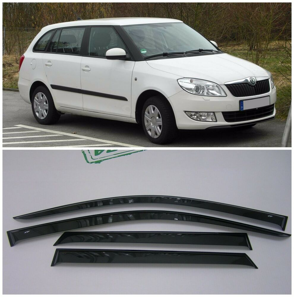 for skoda fabia ii combi 2007 2014 side window visors rain guard vent deflectors ebay. Black Bedroom Furniture Sets. Home Design Ideas