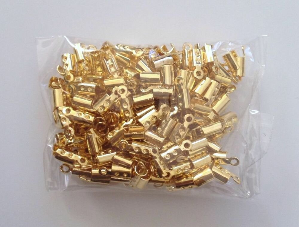 200 pcs gold plated copper chain end caps crimp cord jewelry tools making 55s ebay. Black Bedroom Furniture Sets. Home Design Ideas