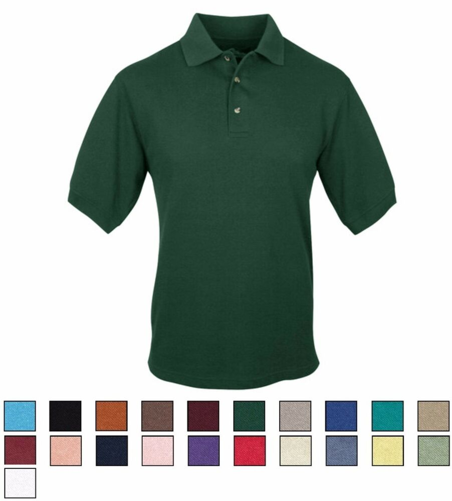 Men 39 s classic polo shirt cotton poly short sleeve s m for Mens 5x polo shirts