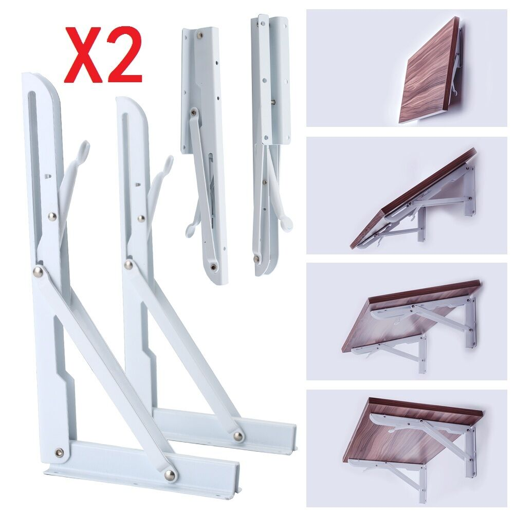 2x White Metal Folding Triangle Angle Shelf Wall Mounted