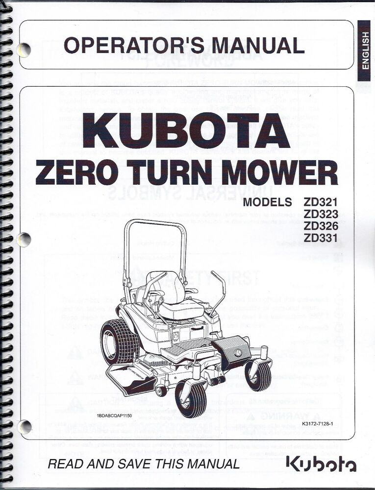 Kubota Tractor Parts Lookup : Kubota zd zeroturn mower operator