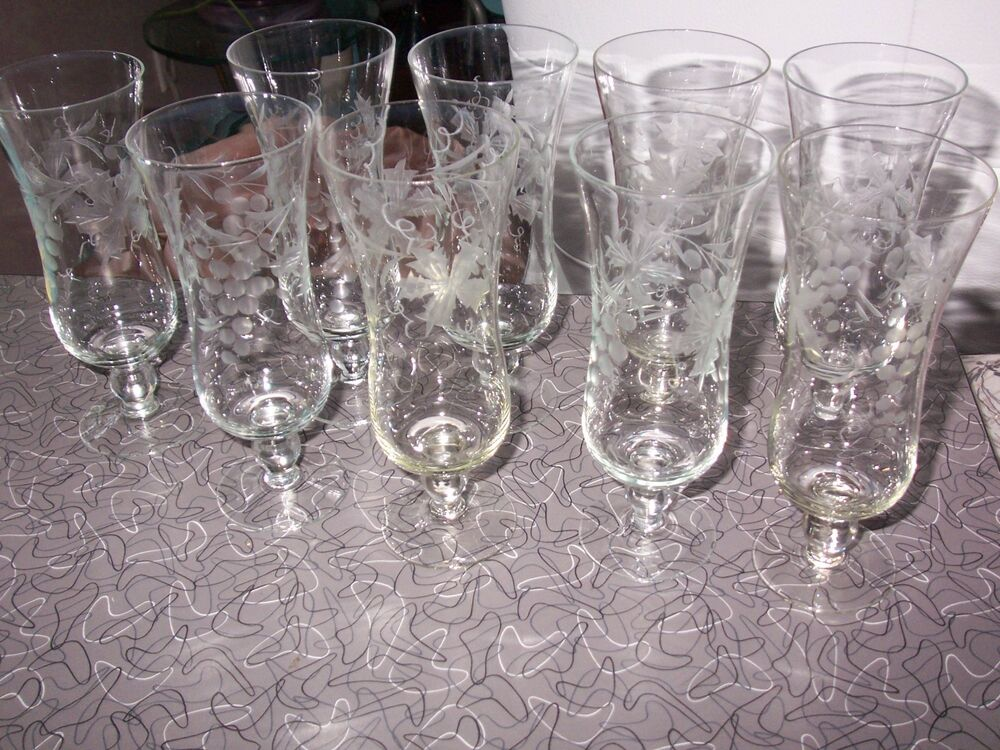 9 vintage cut etched thin crystal glasses ball stem for Thin stem wine glasses