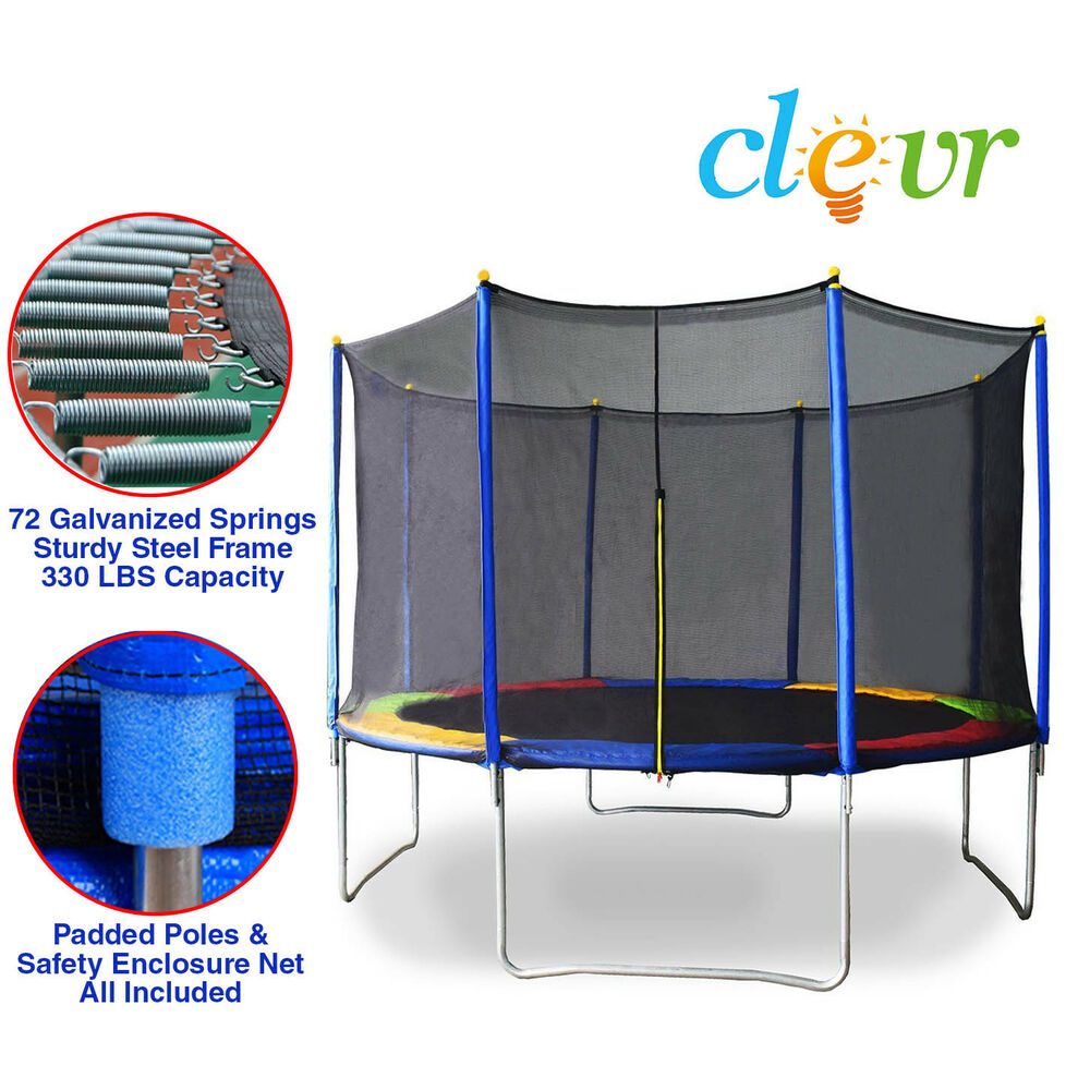 New Clevr 12 FT Trampoline Bounce Jump Safety Enclosure