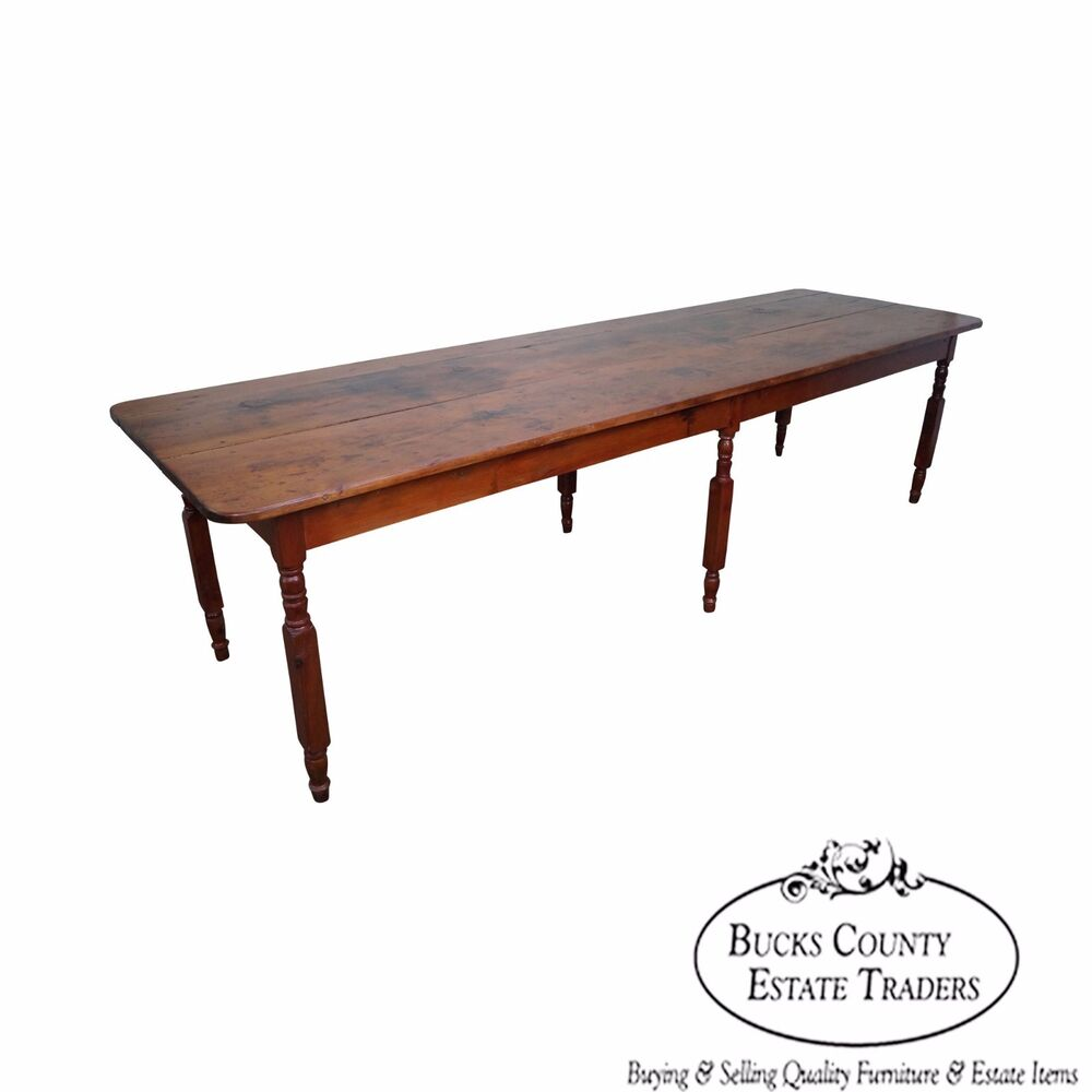 Antique rustic pine 10 foot farmhouse dining table ebay for 10ft dining table
