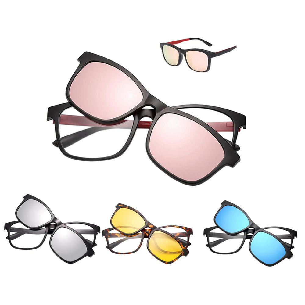 Eyeglass Frames With Magnetic Sunglass Clips : US Eyeglasses Full Frame With Magnet Clip Polarized ...
