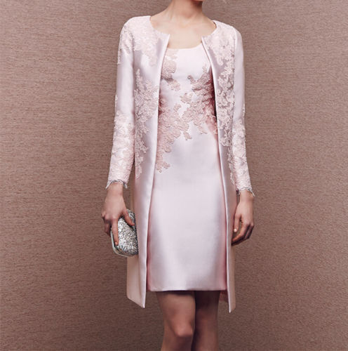 Long light pink jacket mother of the bride dresses women for Dress and jacket outfits for weddings