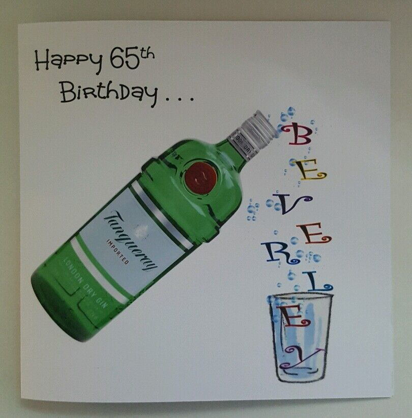 50th Birthday Liquor: Personalised 65th Birthday Card Bottle Gin Whiskey