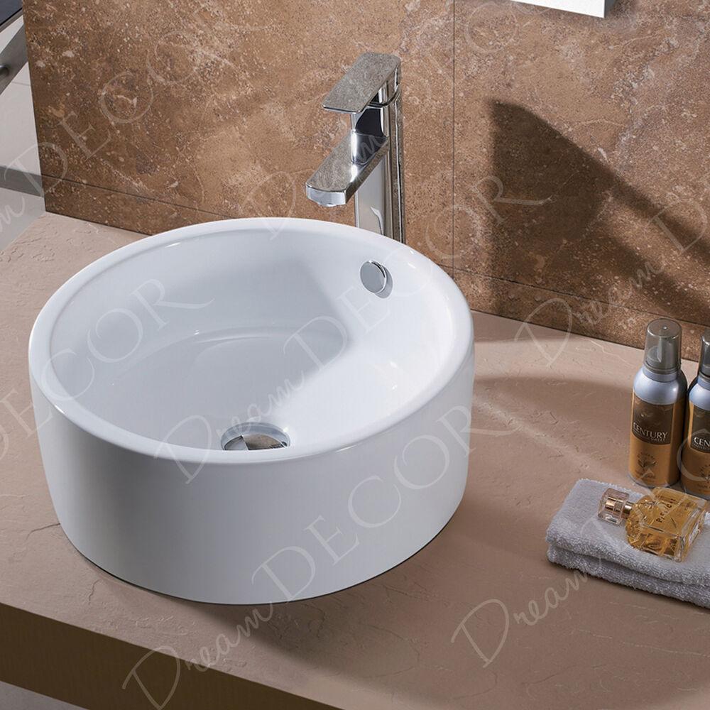 Bathroom Porcelain Ceramic Vessel Vanity Sink Brushed Nickel Pop Up Drain New Ebay