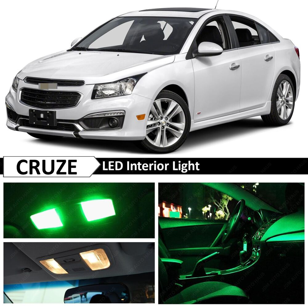 12x Green LED Lights Interior Package Kit For 2011-2017