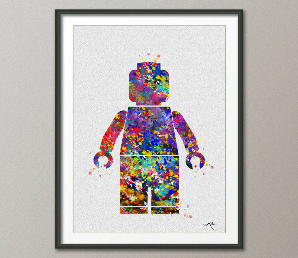 lego emmet watercolor painting print archival fine art. Black Bedroom Furniture Sets. Home Design Ideas