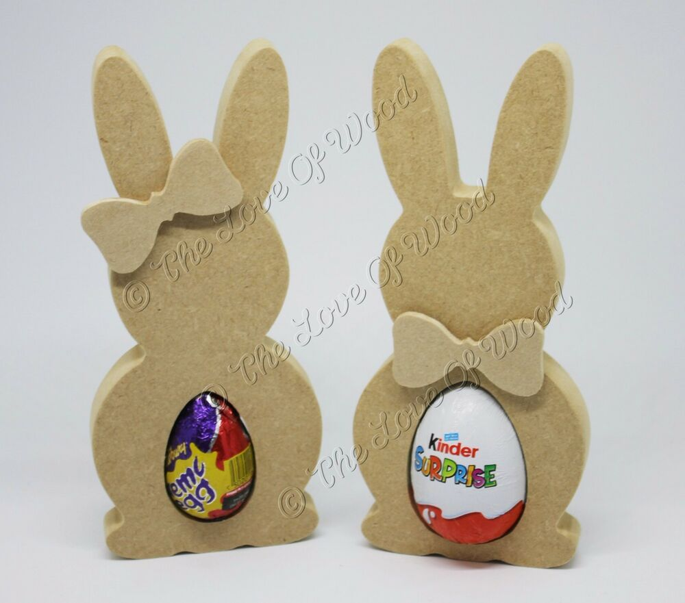 Free standing bunny creme kinder egg holder mdf easter for Wooden eggs for crafts