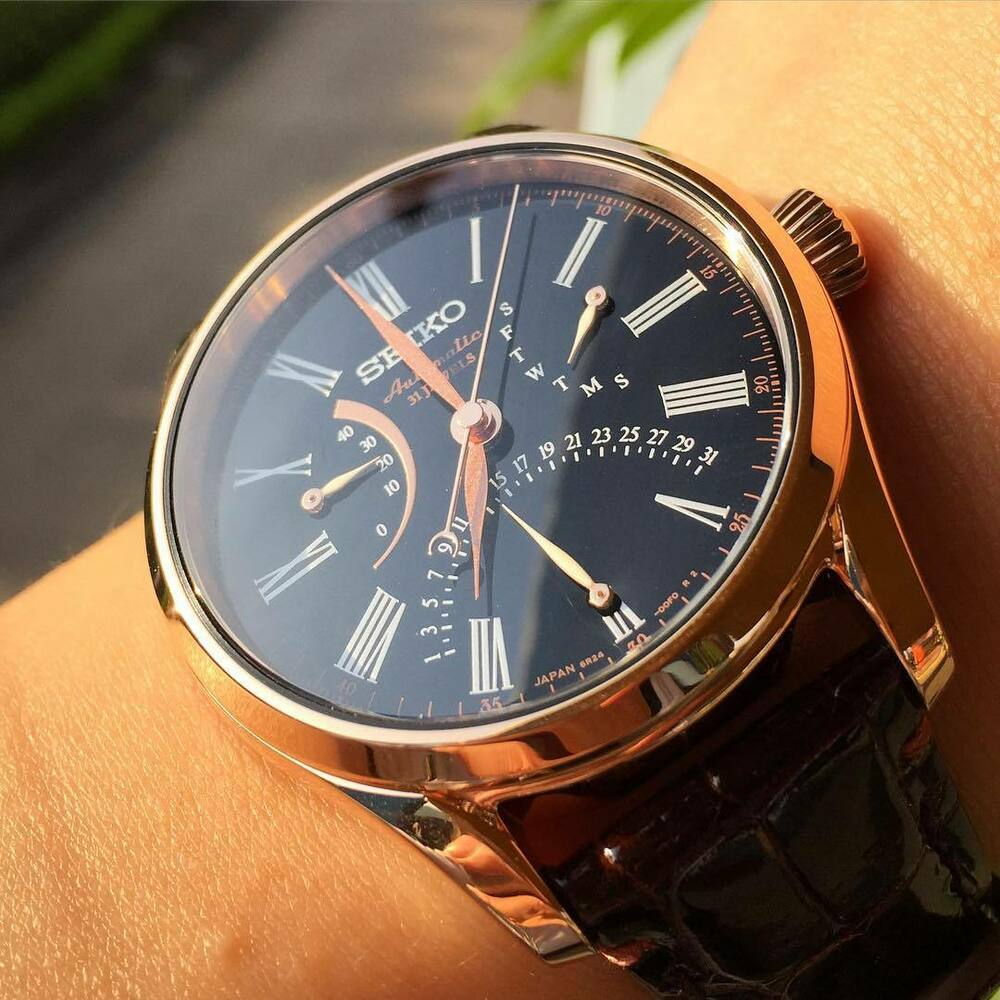 seiko presage mechanical rose gold automatic men 39 s watch sard012 ebay. Black Bedroom Furniture Sets. Home Design Ideas