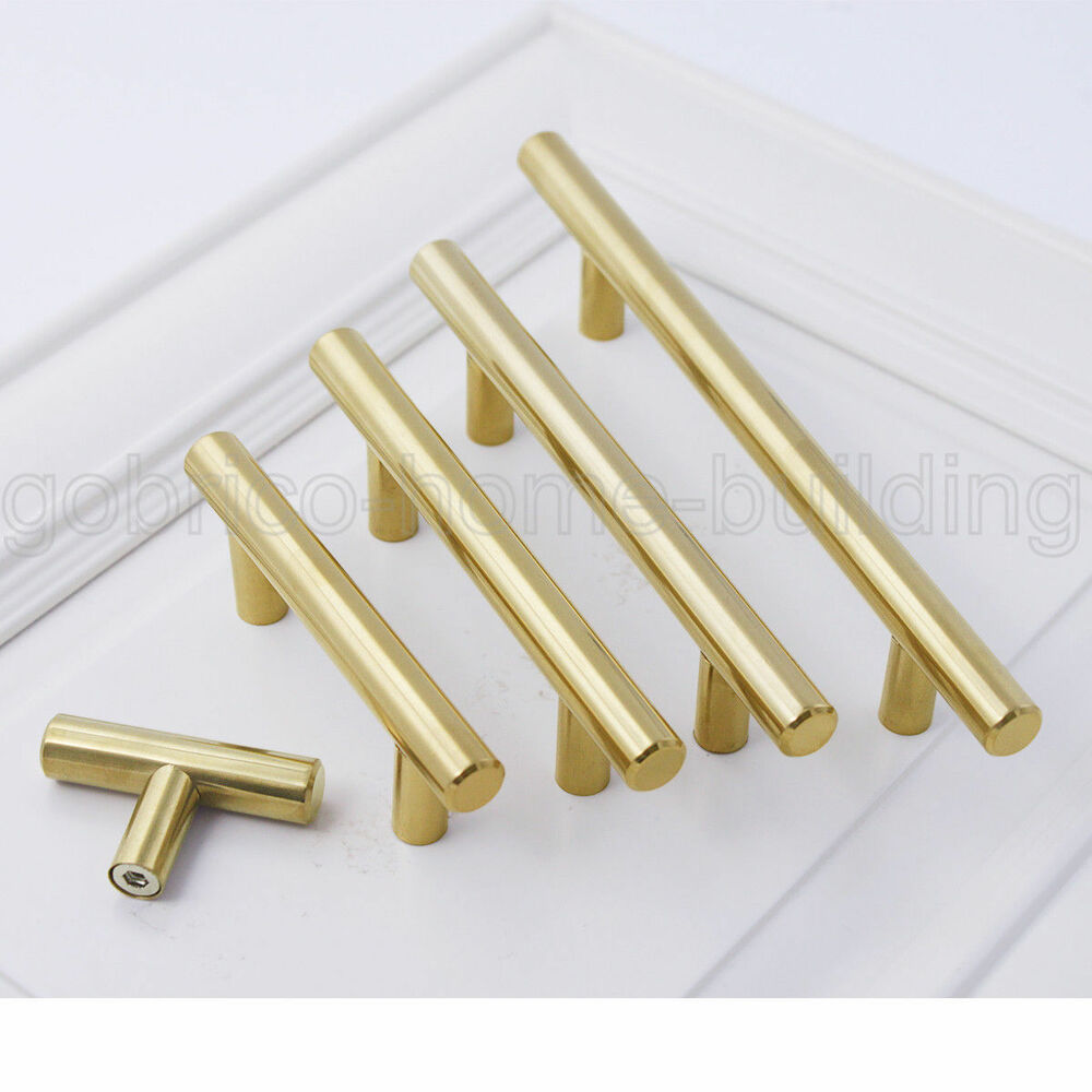 1 2 modern gold cabinet door handles t bar drawer pull for Bar handles for kitchen cabinets