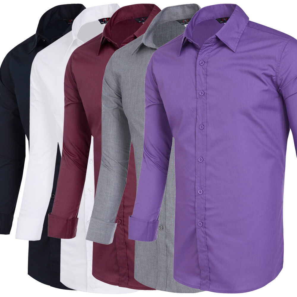 Basic Style Men 39 S Long Sleeve Slim Fit Tops Casual Formal