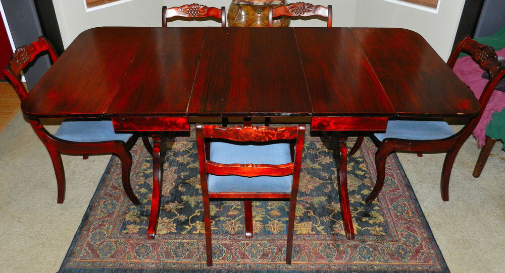 Gorgeous 3 Pedestal, Two Leaf, Drop Leaf, Duncan Phyfe Dining Table W/ Gallery
