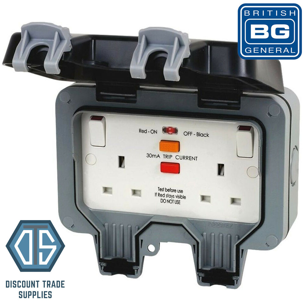 Bg Nexus Wp22rcd Ip66 2gang Weatherproof Outdoor Rcd