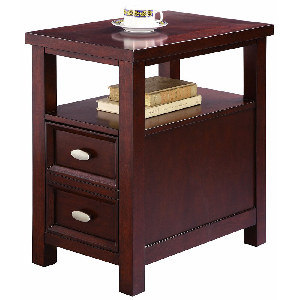 Storage End Tables For Living Room: Night Stand Side Table End Living Bed Room Furniture Wood