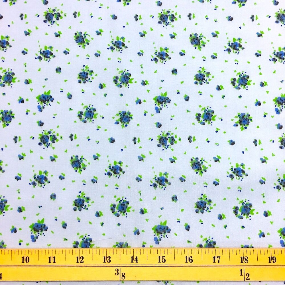 Buttercup Blue Print Fabric Cotton Polyester Broadcloth By