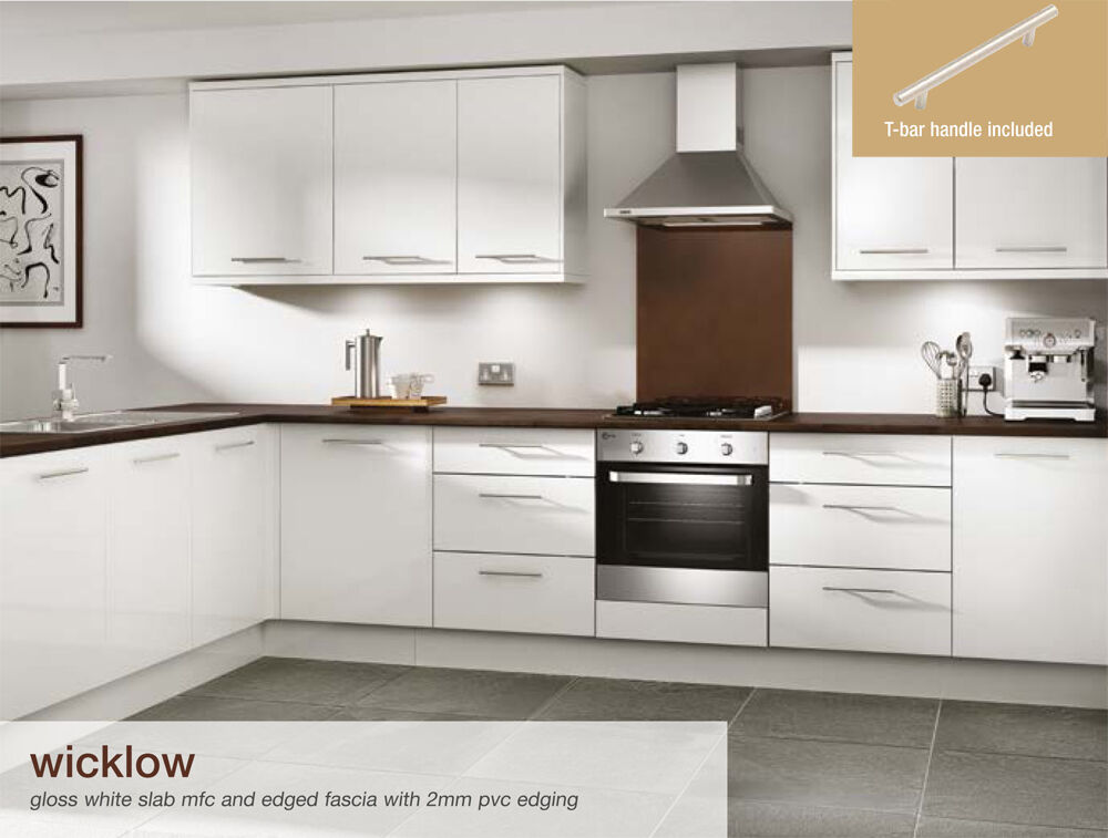 Wicklow gloss white flat packed kitchen base and wall for White high gloss kitchen wall units