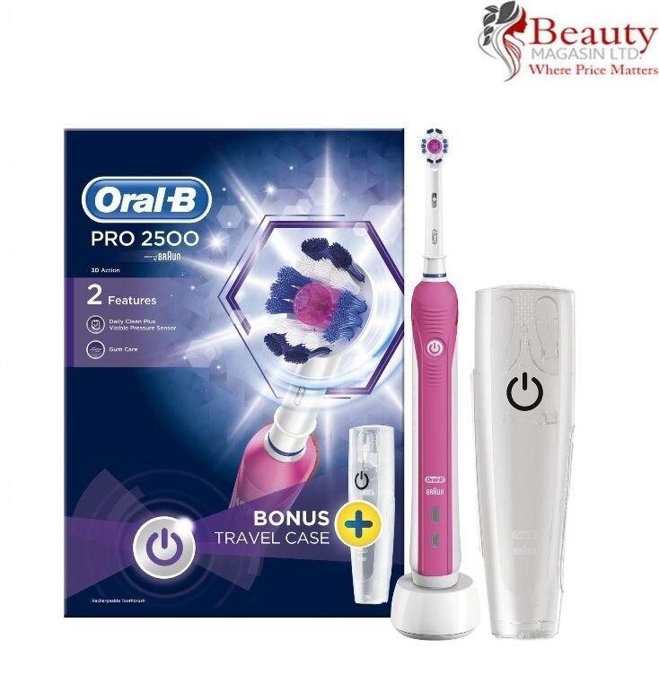 Braun Oral B Pro2500 Pink Electric Rechargeable Toothbrush Amp Case New Ebay