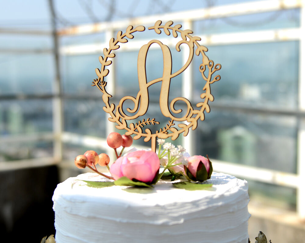 monogram letter cake toppers wedding cakes personalized rustic wood floral wreath monogram wedding 17513
