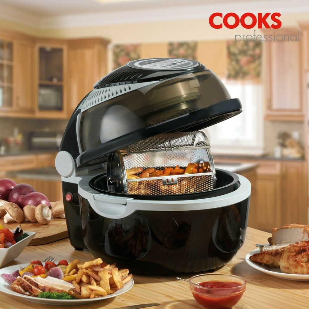 cooks professional black 1300w digital 10l air fryer rotisserie oven airchef ebay. Black Bedroom Furniture Sets. Home Design Ideas