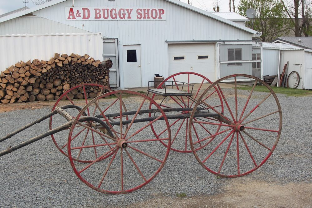 Horse drawn 4 wheel racing buggy wagon carriage sleigh for Vintage horseshoes for sale