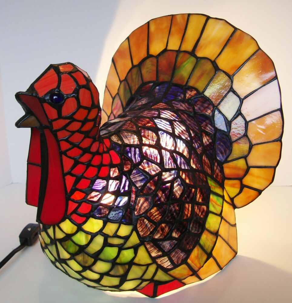 Stained Glass Tiffany Style Turkey Thanksgiving Lamp Ebay