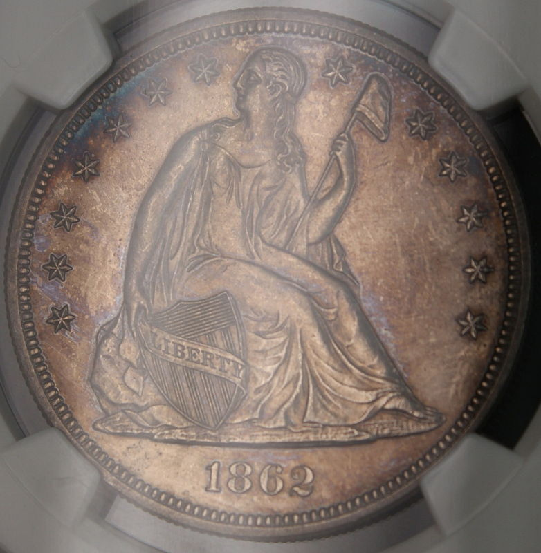 1862 Seated Liberty Silver Dollar 1 Coin Ngc Unc Details
