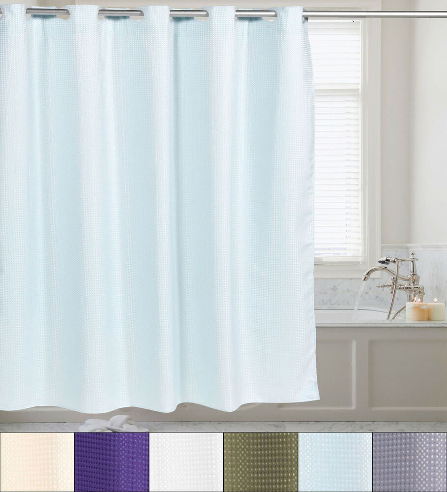 Fabric Shower Curtain Waffle Weave Hookless With Snap Off Liner 70 X75 Ebay