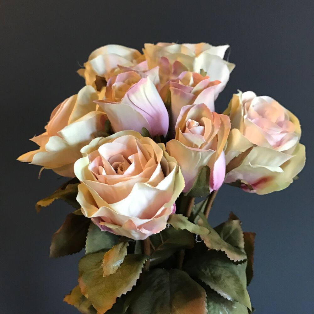 Bunch Of 9 Dusty Pink Artificial Roses Dusky Pink Faux Silk Rose