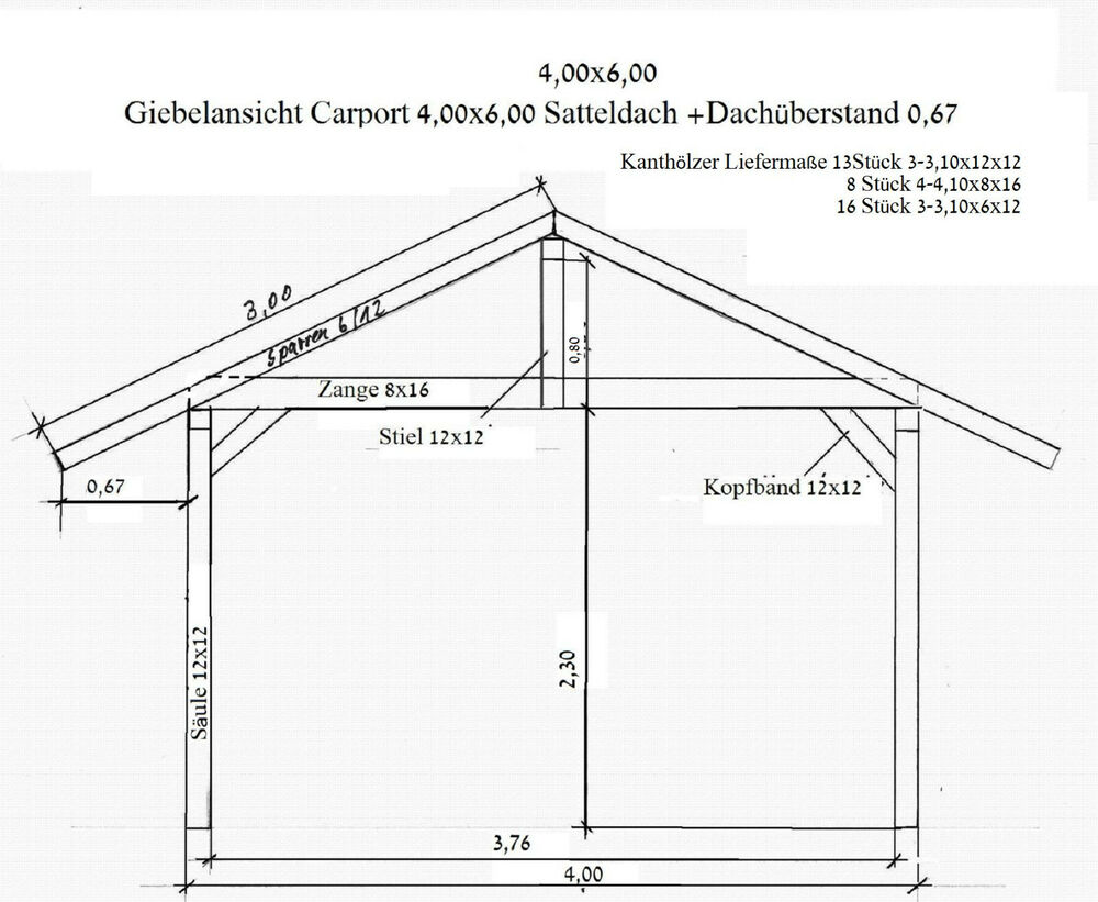 kiefernschnittholz f r ein carport 4 x 6 m mit satteldach ebay. Black Bedroom Furniture Sets. Home Design Ideas