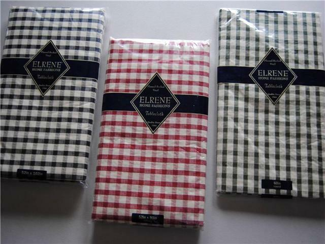 Vinyl Tablecloth Gingham Check Red Black Green Valentine