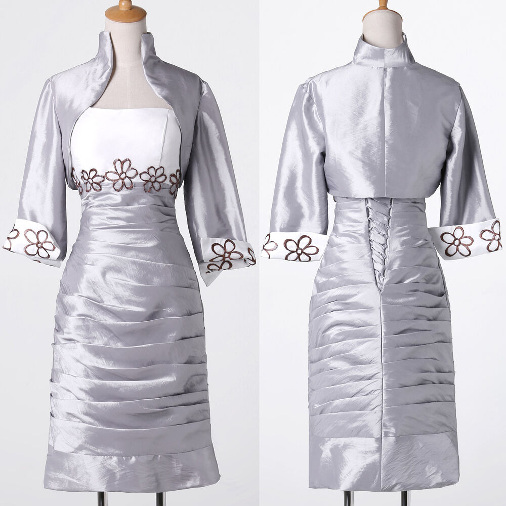 Wedding guest suit with jacket silver womens mother of the for Dress and jacket for wedding guest