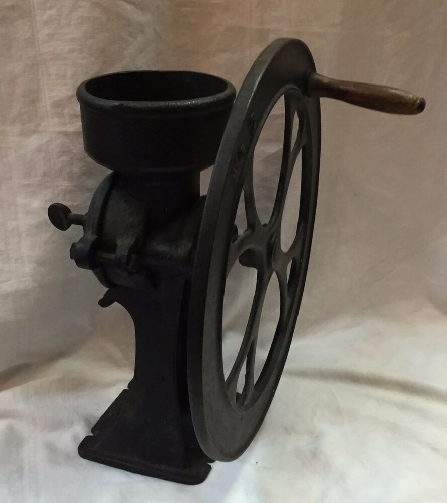 Antique Cast Iron Coffee Grinder : Antique mercantile no single wheel black cast iron coffee
