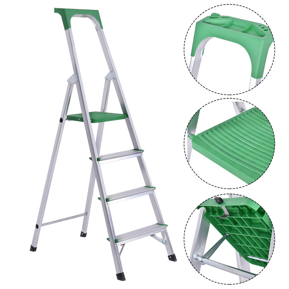 Non Slip 4 Step Ladder Aluminum Folding Work Stool